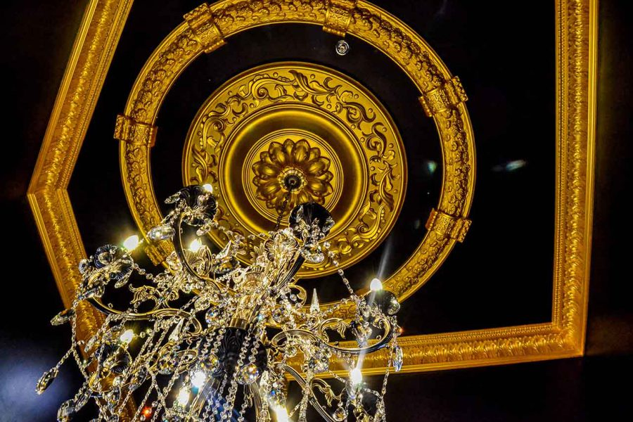 black and gold ceiling