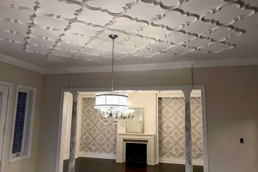 patterned tiled ceiling
